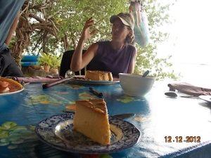 Flan birthday cake.
