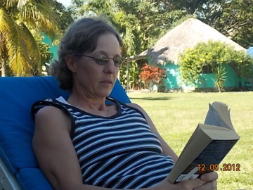 Lisa relaxing in the shade at Casita Carolina.