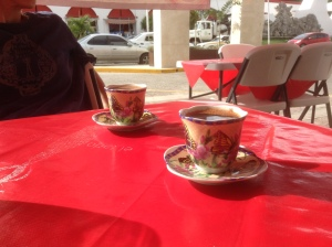 Turkish coffee is beautiful little china cups.