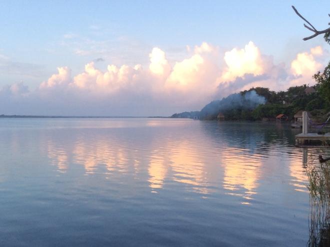 Sunrise this week on Laguna Bacalar.