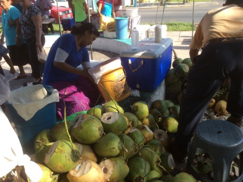 Coconuts in season. Open with a machete.