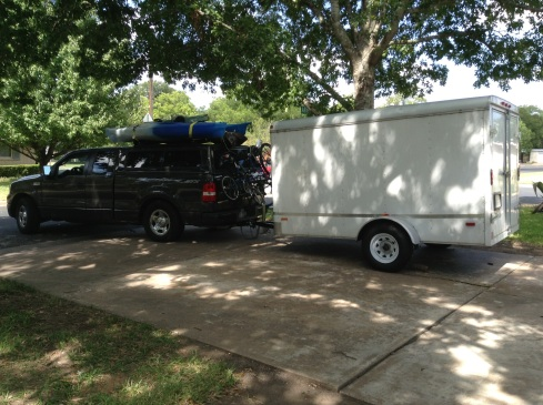 Pulling out of the drive in Austin Texas to live our dream in Mexico.