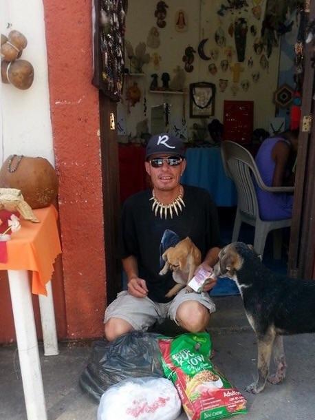 Rojo the dog rescuer.