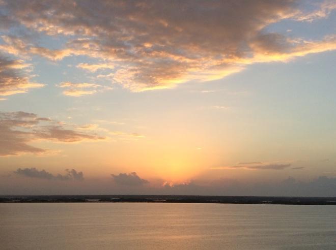Sunday morning sunrise over Laguna Bacalar.