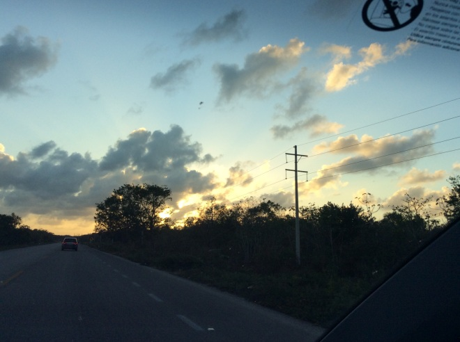 The sunset leaving Tulum heading home to Bacalar.