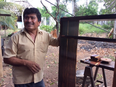 Luis shows us a window frame that he has made for a school. The wood is so beautiful.