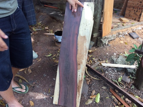 A rich red-purple vein that ould be polished and stained for a table or bench.