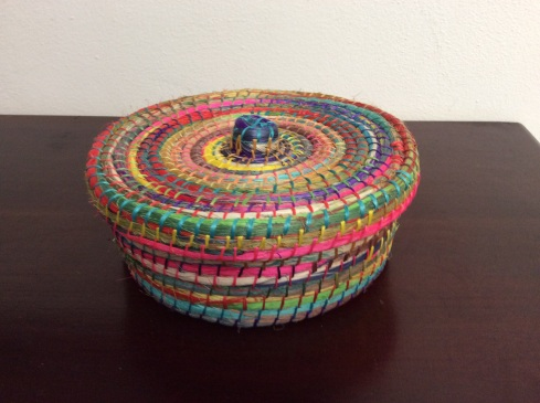 I bought this tortilla basket fro e nuns in the church gift shop.  The colors were amazing. I couldn't pass it up.