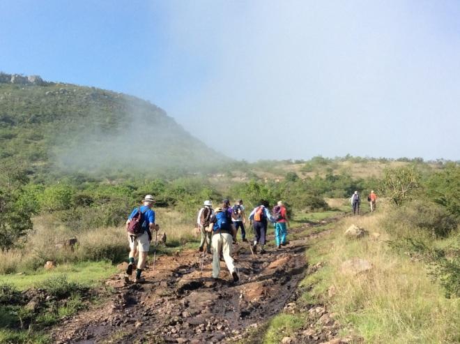 Mountain mist and muddy terrain.