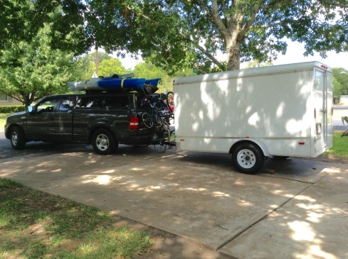 Pulling out of our drive in Austin two years ago with everything we own.