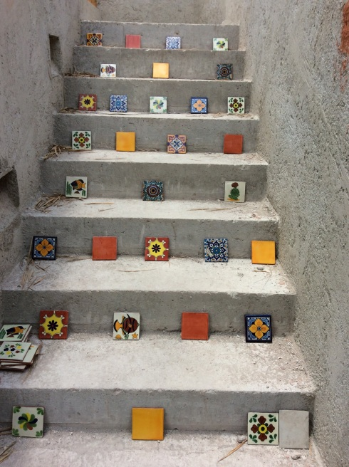 Tile placement for the stairway to heaven.
