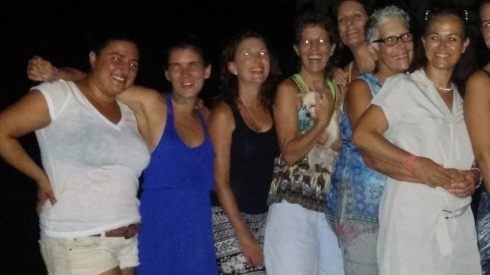 Olga, far left at our wedding reception in Bacalar.